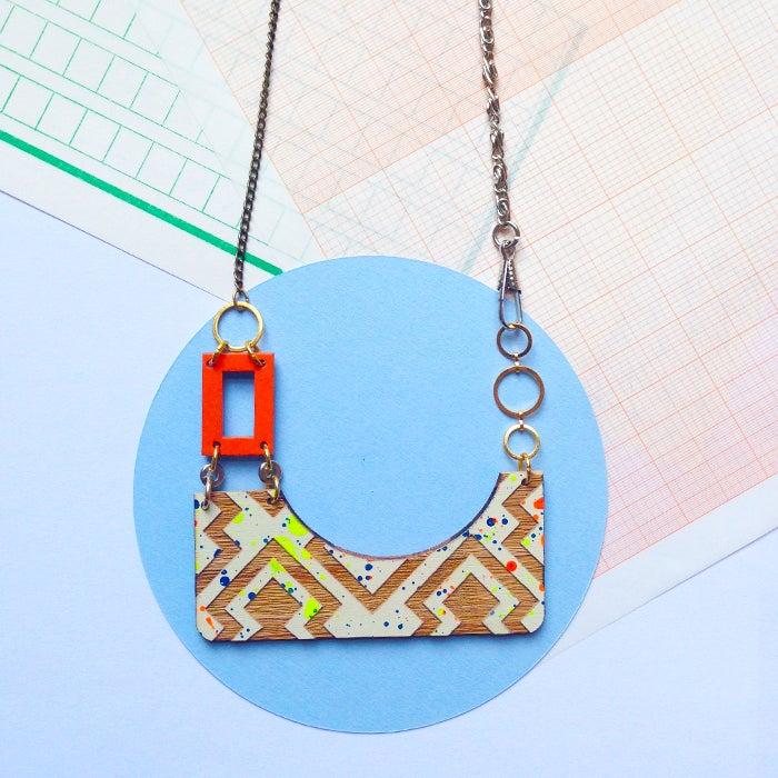 Image of Izzie rectangle drop necklace