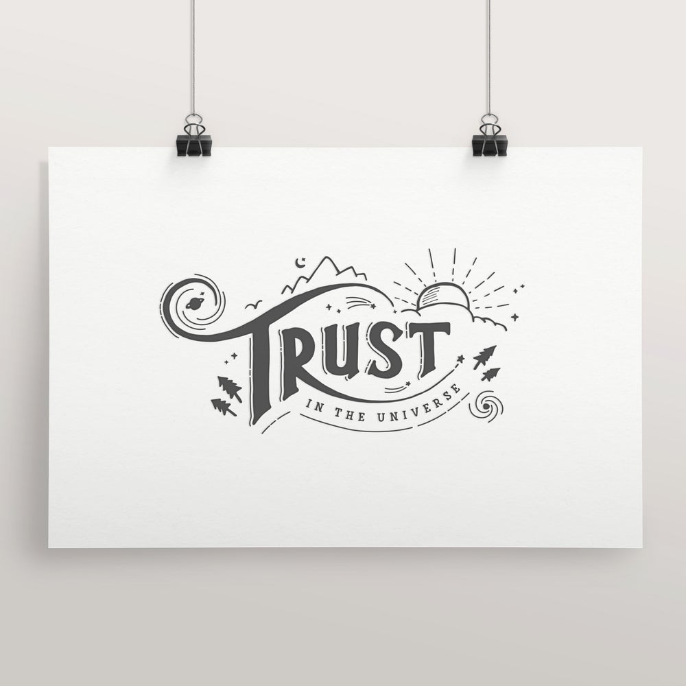 Image of Trust in the Universe 10x15 Letterpress print