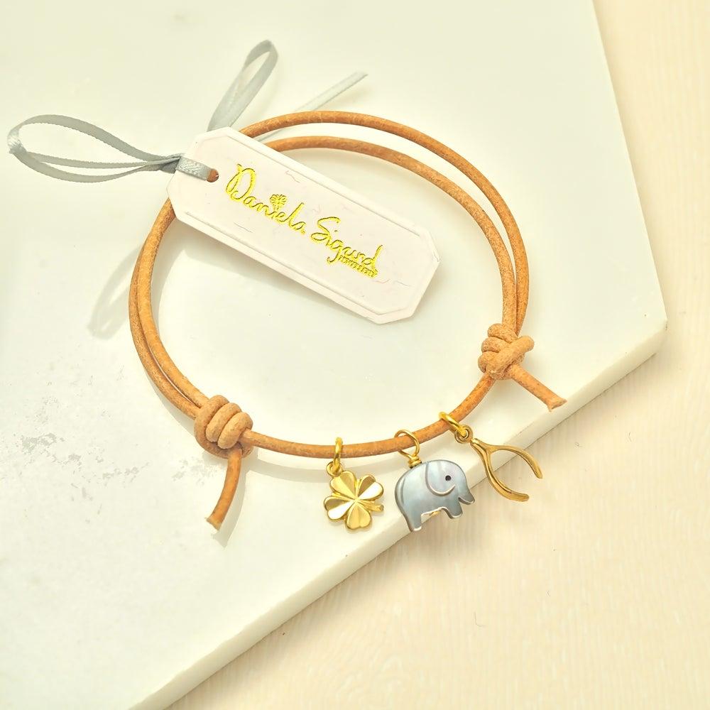 Image of Elephant ,four leaf clover and wishbone bracelet