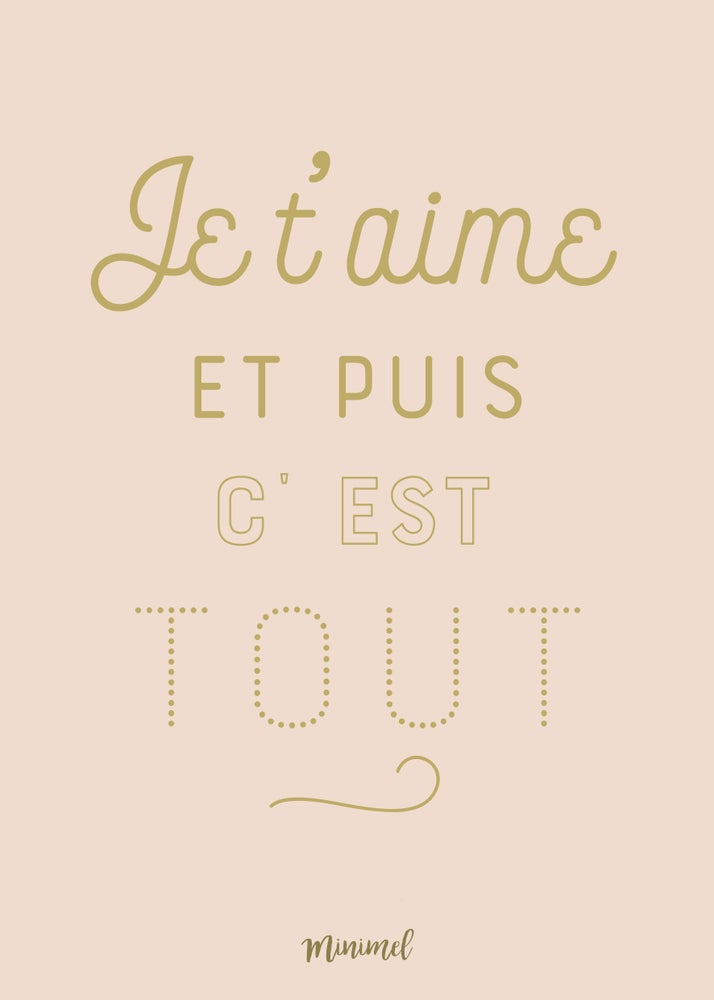 Image of Affiche Je t'aime A3 SOLDE -30%