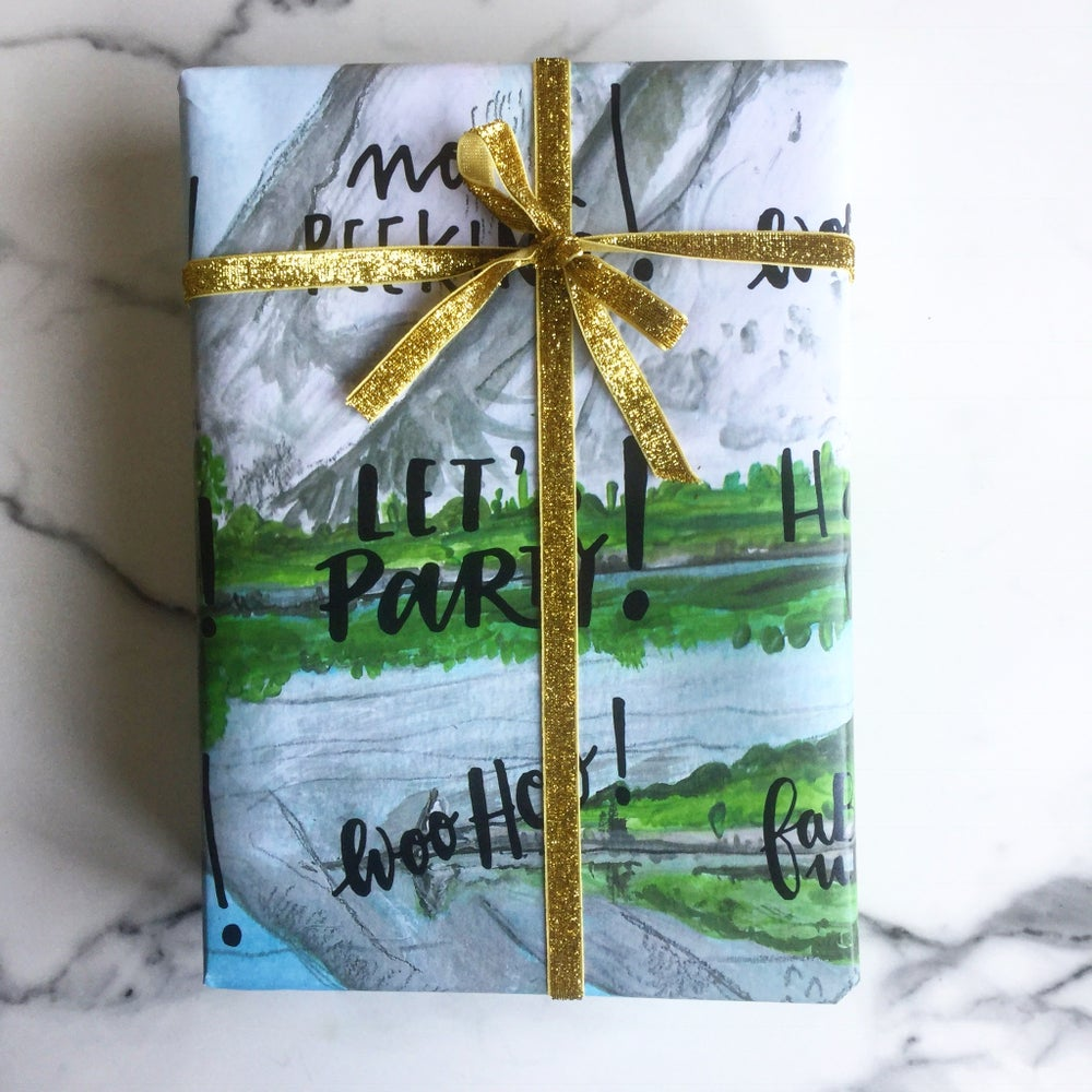 Image of 2 sheets of A2 mountain range gift wrap