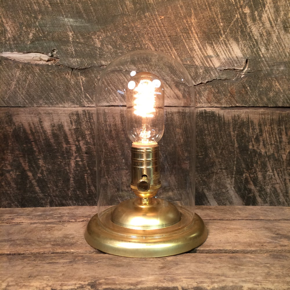 Image of Glass Dome Brass Base