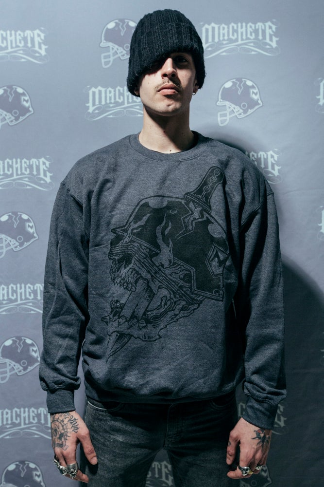 "Image of Machete ""Classic Logo Grey Slate"" crewneck"