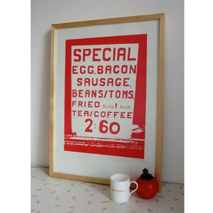 Image of Big Breakfast screenprint on paper - Red