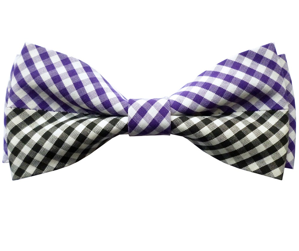 Image of Gingham patchwork pre tied bow tie