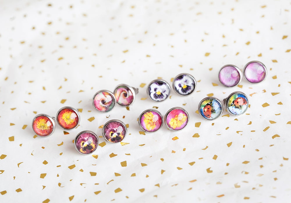 Image of Floral and Fauna 10mm Studs Collection