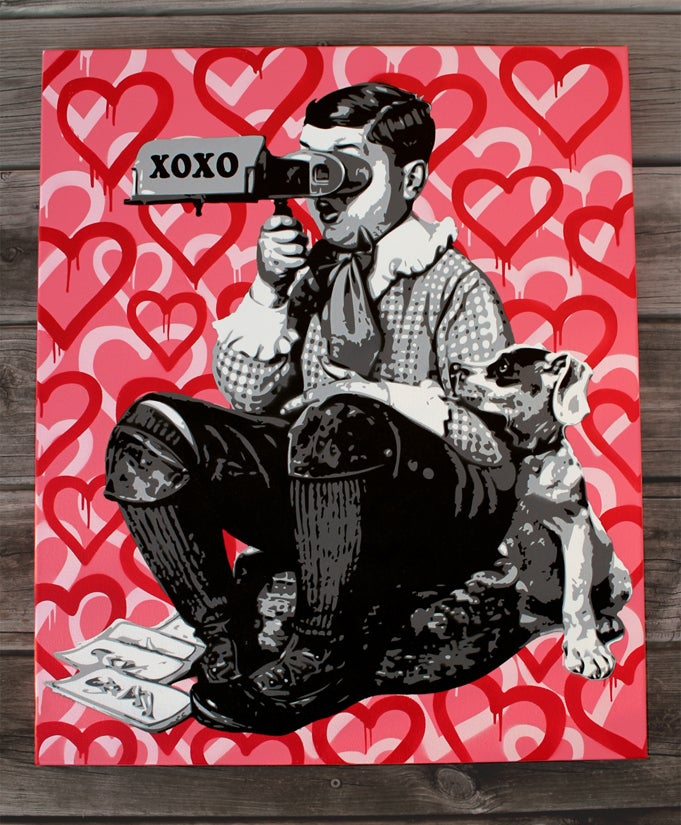 "Image of ""Loverboy"" Original Stencil on Canvas"