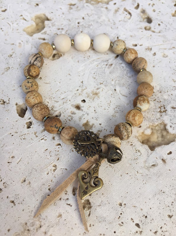 Image of Bracelet élastique grosses pierres WILD