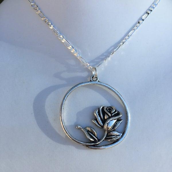 Image of Eva Silver Rose Necklace