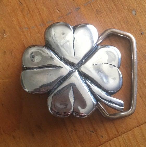 Image of Stainless steel 4 leaf clover belt buckle.