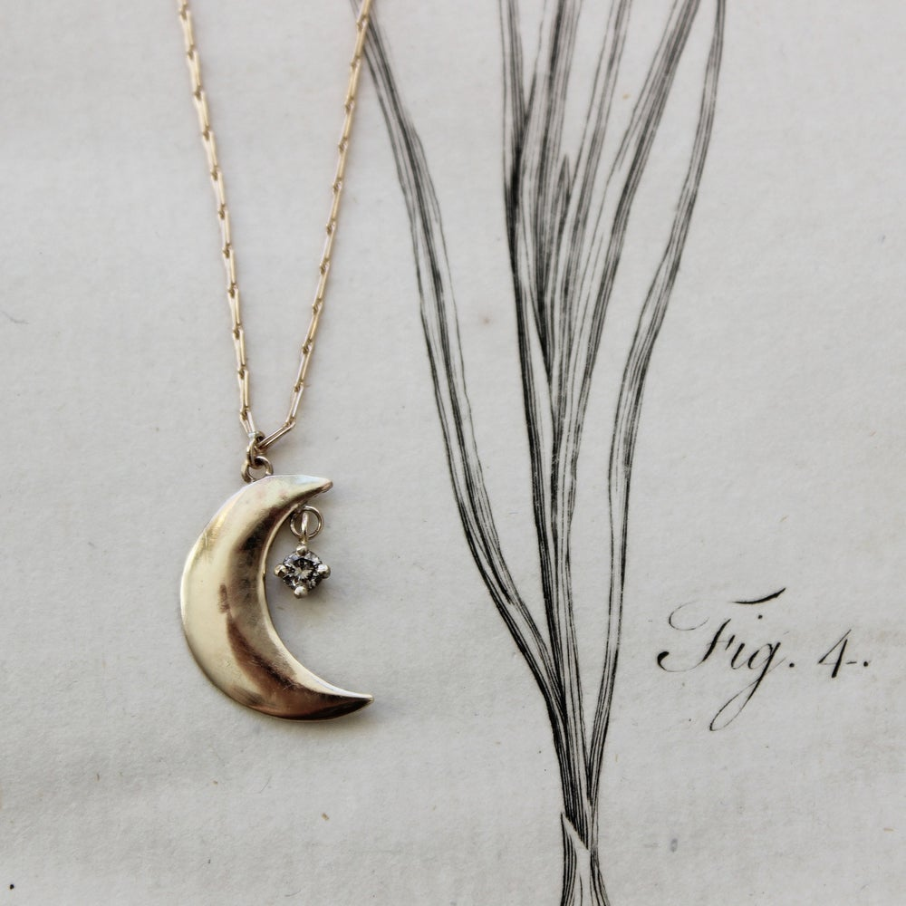 Image of *NEW* gold crescent moon with diamond necklace