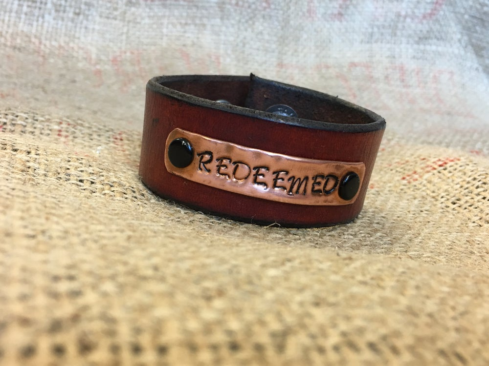 Image of Leather Cuff Bracelet with Stamped Copper Accents