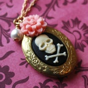 Image of Pink Poison - skull locket with pink floral