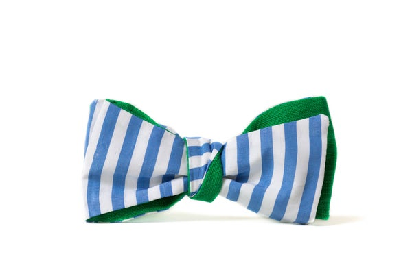 Image of noeud papillon rayures bleu clair - revers vert menthe