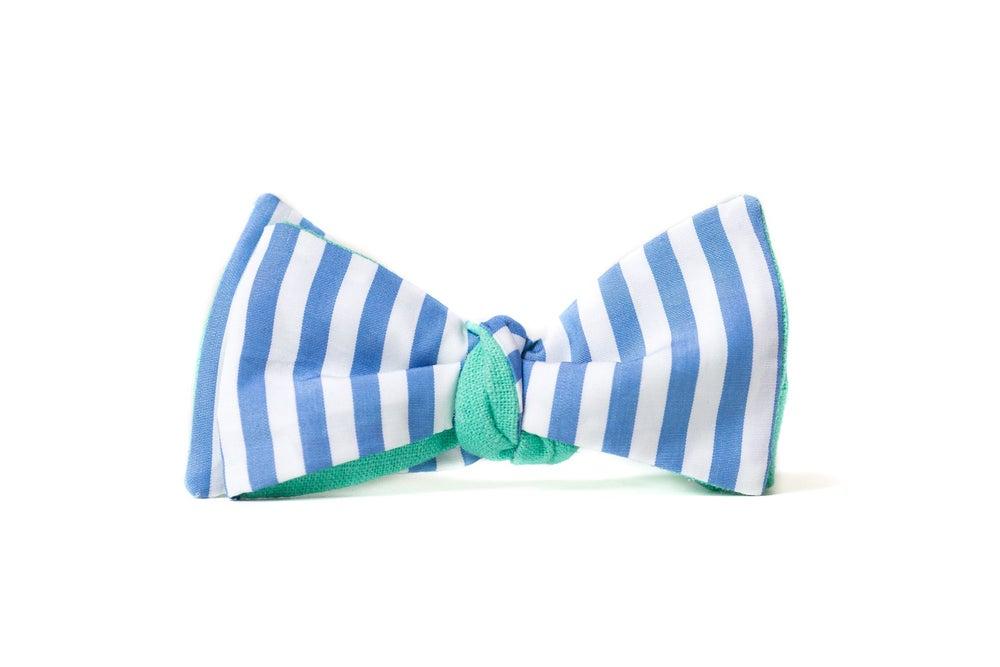 Image of noeud papillon rayures bleu clair - revers vert clair