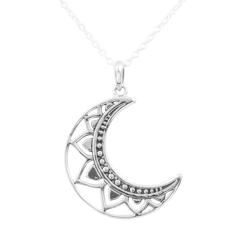 Image of Sterling Silver Mandala Moon Necklace