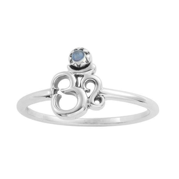Image of Sterling Silver & Rainbow Moonstone Om Ring