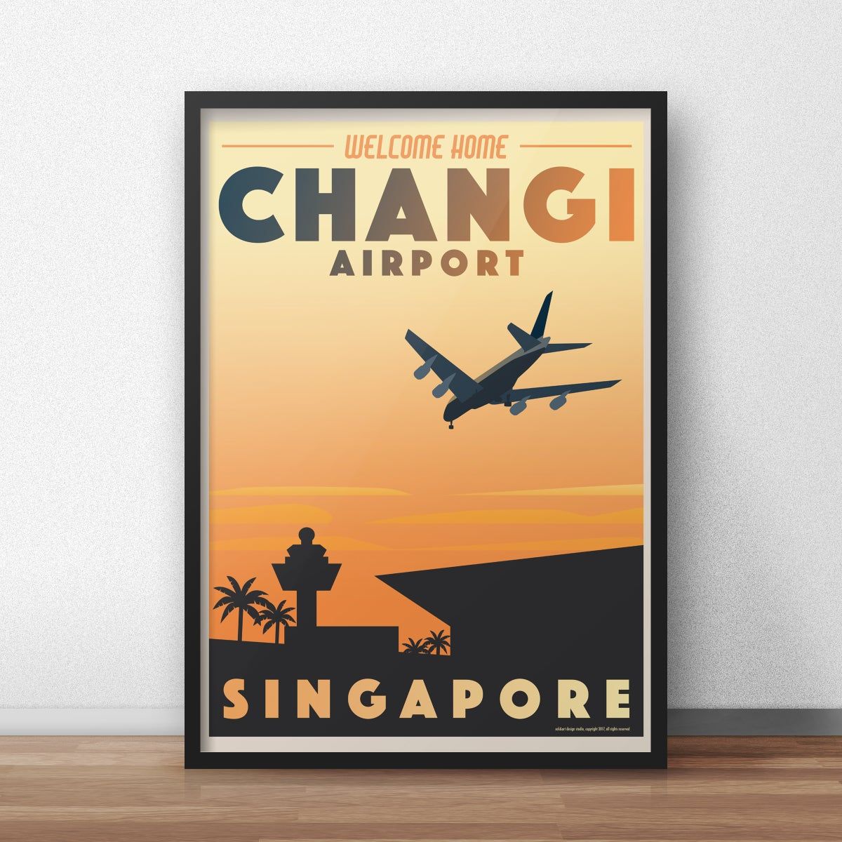 Image of Changi Airport Vintage Travel poster