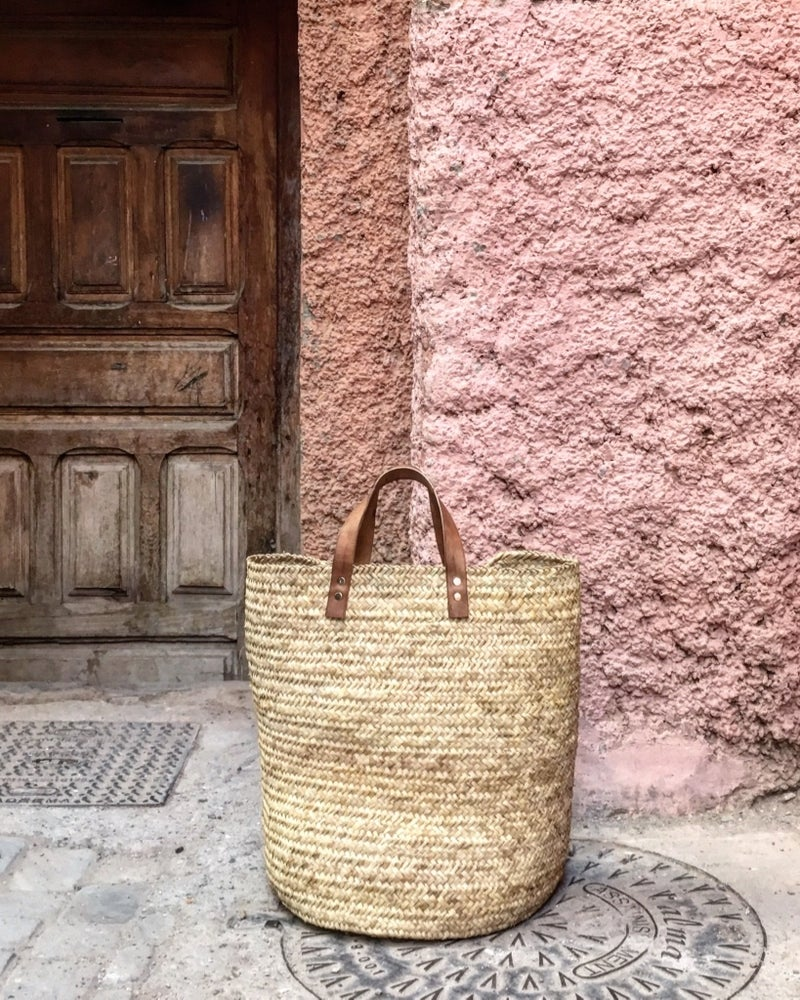 Image of BASKET WITH LEATHER HANDLES