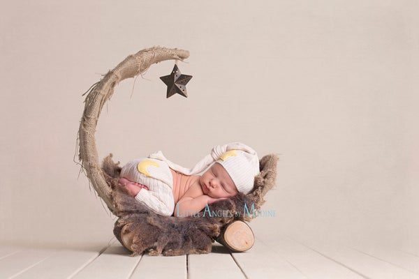 "Image of Natural Tan, Over the Moon! Rustic & Organic Woodsy Wonders, Half Moon, Newborn Baby ""Poser"""