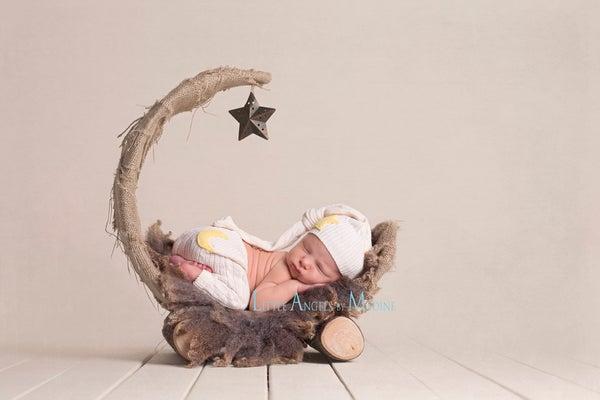 "Image of Over the Moon! Rustic & Organic Woodsy Wonders, Half Moon, Newborn Baby ""Poser"""