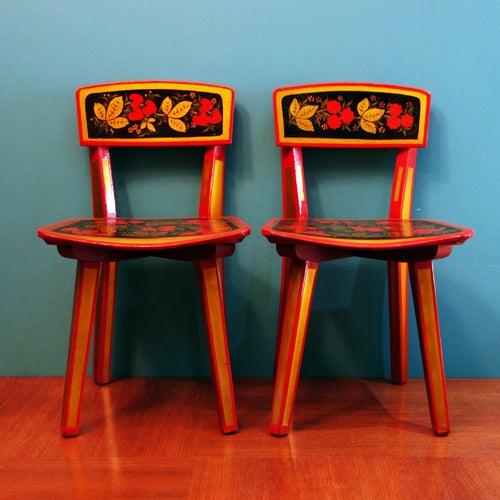 Image of Duo de petites chaises enfant années 50/60