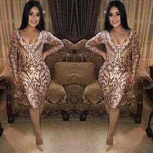 Image of V-neck Golden Dress