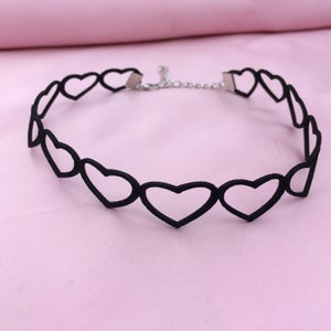 Image of Suede Heart Cut Out Choker