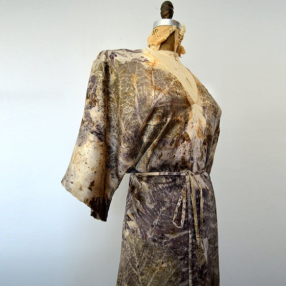 Image of eco print camo kimono wrap dress