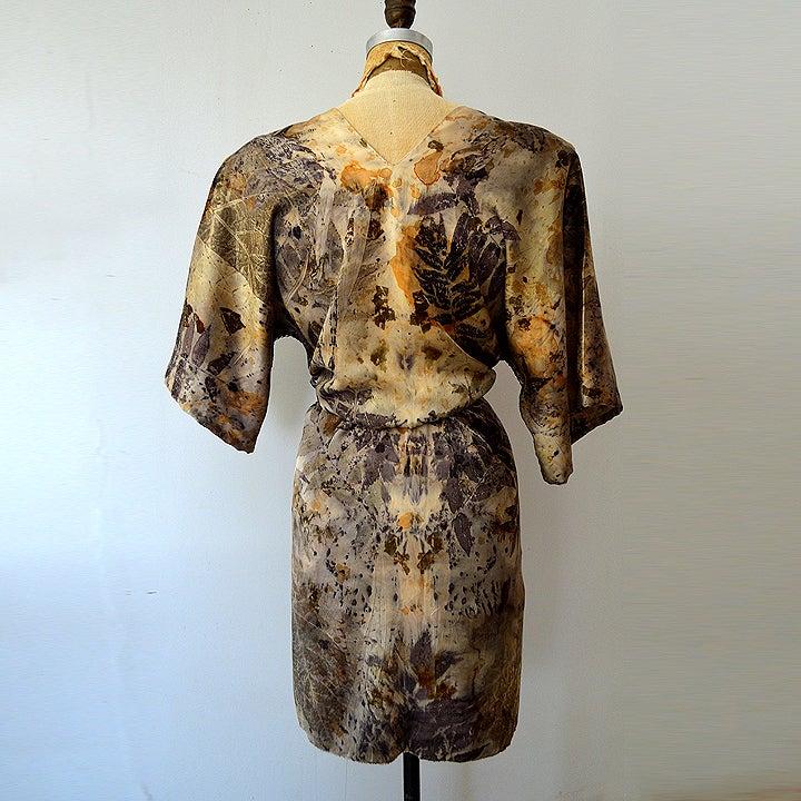 Image of eco print camo kimono wrap dress