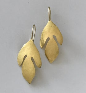 Image of Sassafras Leaves Hammered 18K Gold Earrings