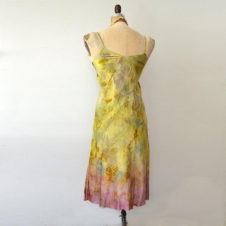 Image of eco print silk slip dress