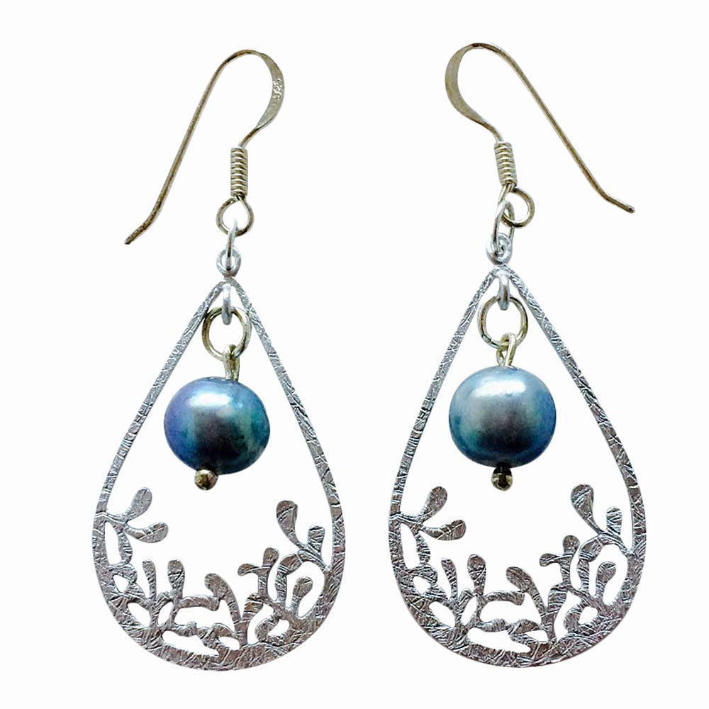 Image of GRAY PEARL & BLOSSOM RAINDROP EARRINGS