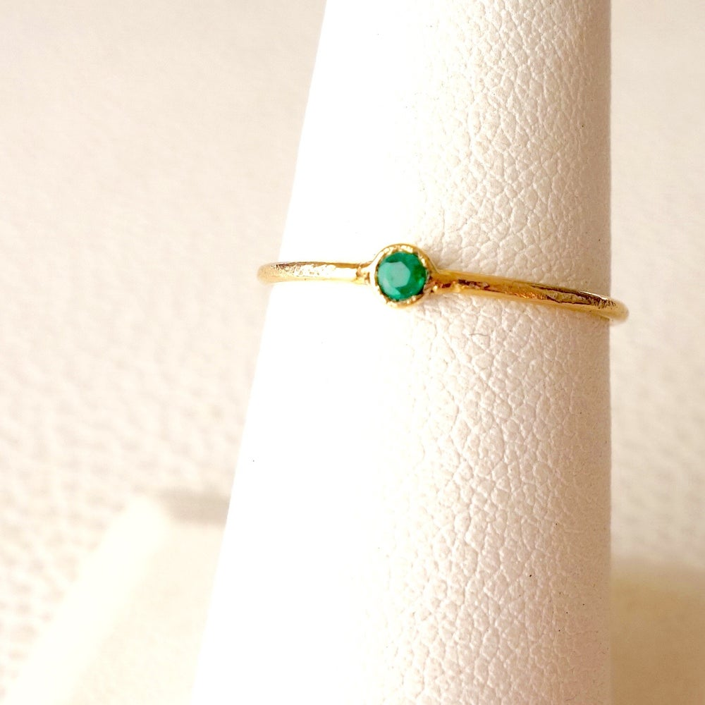 Image of Skinny Emerald Bezeled Ring
