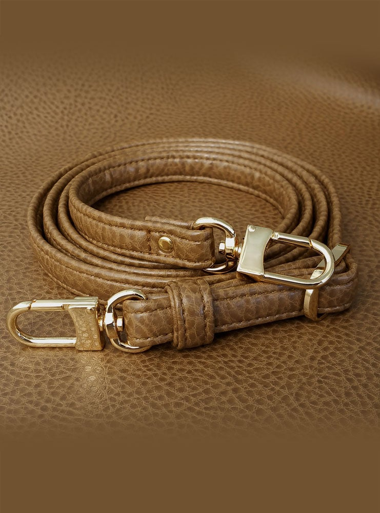 "Image of TAN Premium Faux Leather Purse Strap - 1/2"" Wide - Gold or Nickel #16LG Hooks - Choose Length"