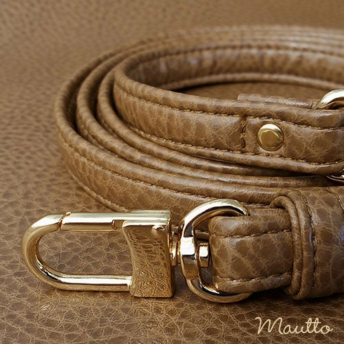 """Image of TAN Premium Faux Leather Purse Strap - 1/2"""" Wide - Gold or Nickel #16LG Hooks - Choose Length"""
