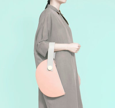 Image of Half Moon Clutch - BLUSH/LIGHT GREY [ PRE-ORDER ]