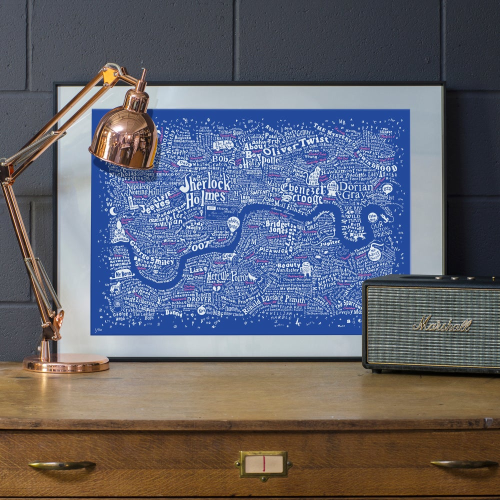 Image of Literary London Map (White & Pink on Royal Blue Plike 2016)
