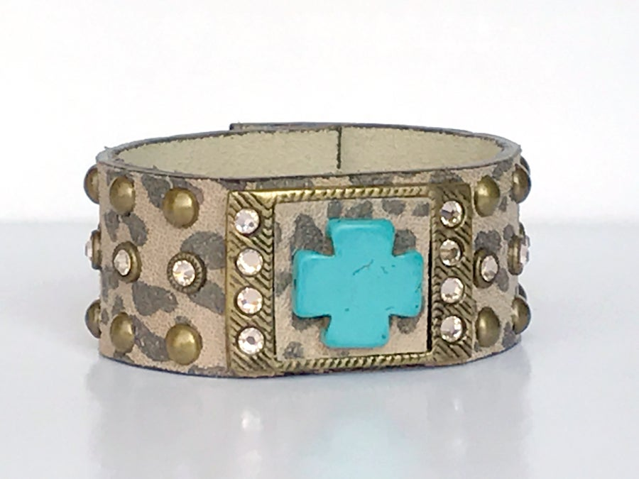 Image of Leather Leopard Print & Turquoise Cross Cuff Bracelet w Swarovski Crystals