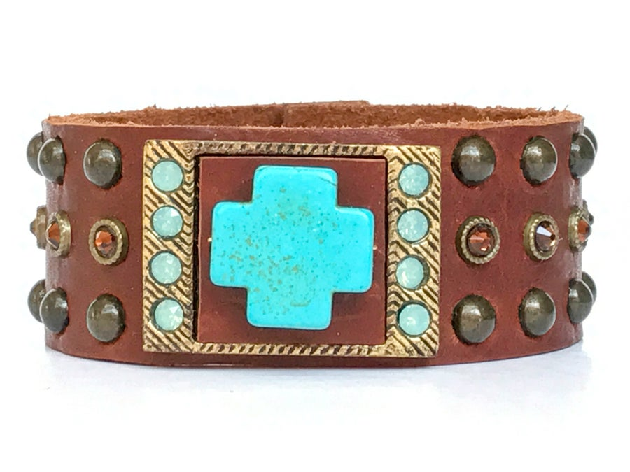 Image of Vintage Brown Leather & Turquoise Cross Cuff Bracelet w Swarovski Crystals