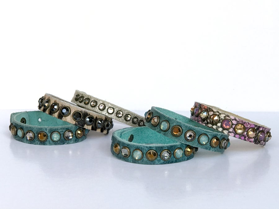 Image of Boho Layering Bracelet w Leather & Swarovski Crystals - Turquoise - Pink - Tan Black Zebra