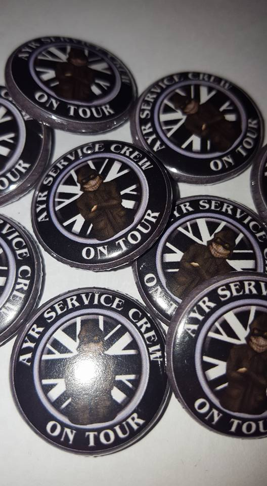 Image of Ayr United Service Crew On Tour Brand New 25mm Football Ultras/Casuals Badges.