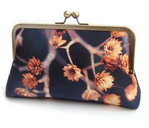 Gold seed heads clutch bag, blue and orange silk purse, woodland wedding, bridesmaid gift - Red Ruby Rose