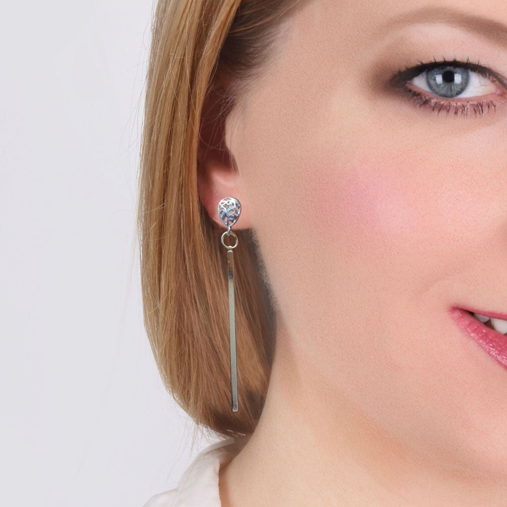 Image of RAINDROP LONG BAR EARRINGS