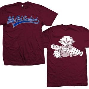 """Image of BILLY CLUB SANDWICH """"Logo Demo"""" Maroon T-Shirt"""