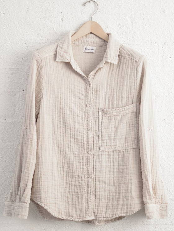 Image of Sam & Lavi Gema Button Down in Bone