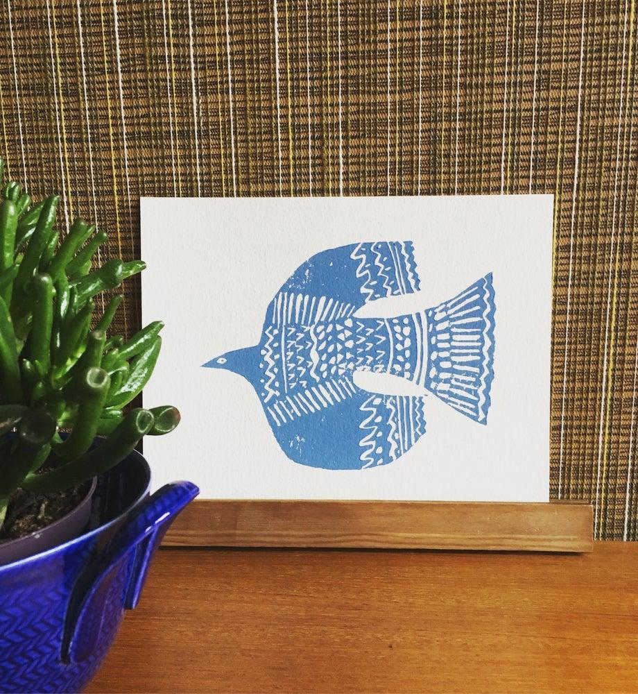 """Image of """"Einsam Flygar""""  soft cut lino print"""