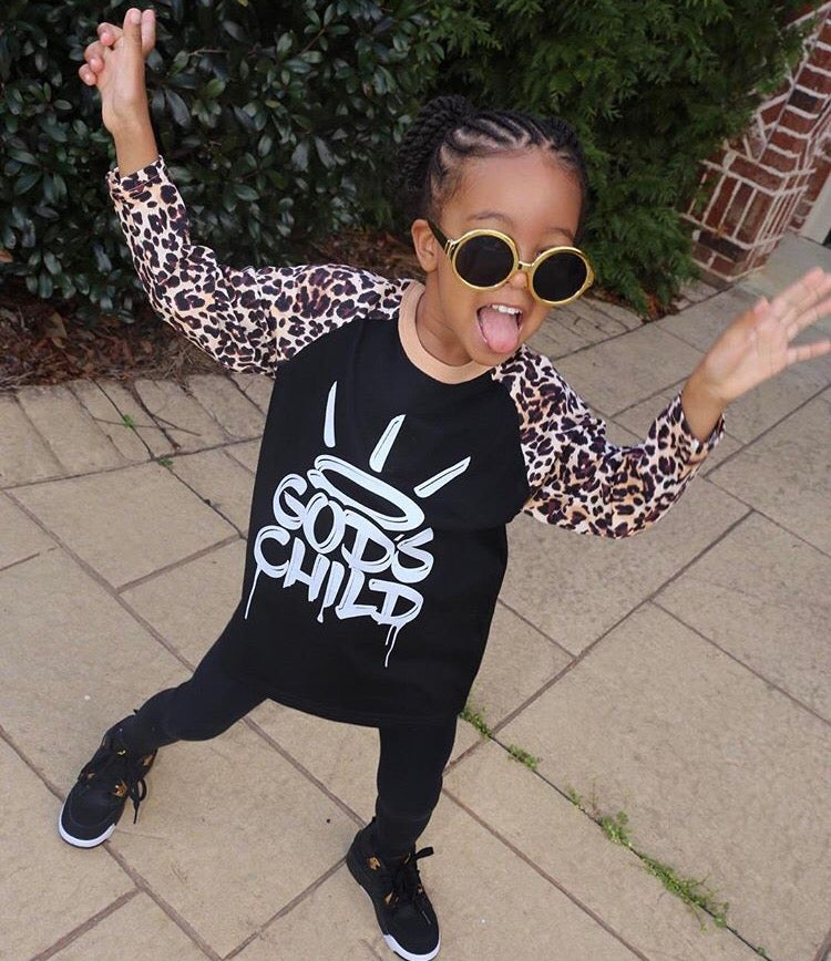 "Image of ""God's Child"" Girl Black/Leopard Kid Baseball Shirt"
