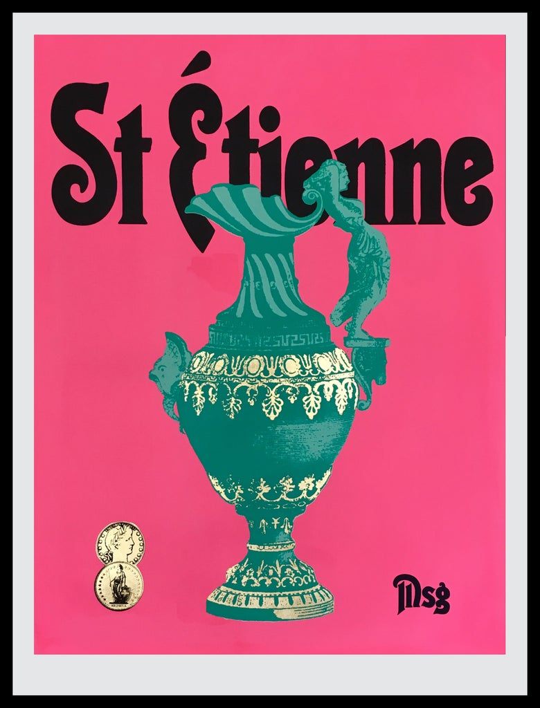 Image of St Etienne Hot Pink/Aqua/Black -In stock.