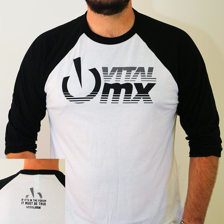 Image of Vital MX Fade Logo Baseball T-Shirt, White and Black